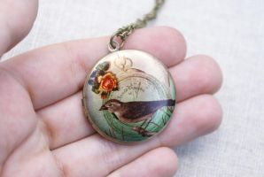 Garden Bird Locket Necklace by MonsterBrandCrafts