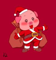 Piggy Santa by YennyLaud