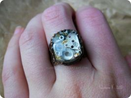 Steampunk ring with old watch movement by IkushIkush