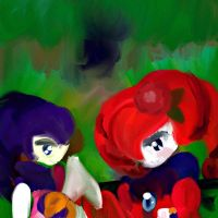 Holding Hands:Art Trade 2 by The-Pink-Green-Chibi