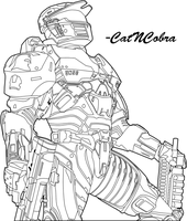 Halo Wars: Spartan 'B+W' by CatNCobra