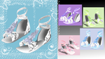 [MMD] Flat glittery Diamond Ruffle Sandals by DeidaraChanHeart