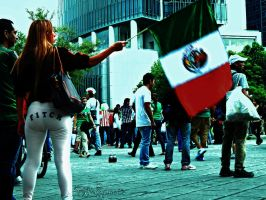 Mexico City celebrating World Cup game by photo-tlacuilopilo