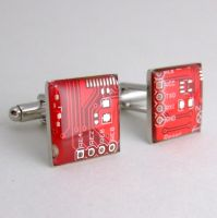 Red Square Domed Circuit Board Cufflinks by Techcycle