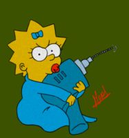 Detournement de Maggie Simpson by Meuge