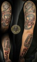 3 music drums note micro tat by 2Face-Tattoo