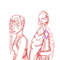Impa and Fi WIP by Sixala