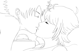 Luffy and Margaret lineart by Angy89