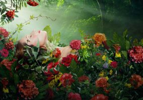 On A Bed Of Flowers - Kat by b-e-c-k-y