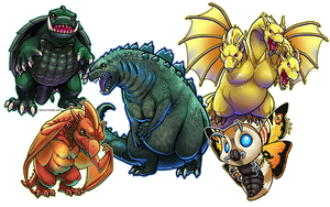 Classic Kaiju - Godzilla and Frienemies by ghostfire