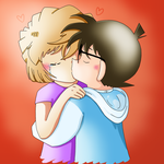 Ai Haibara and Conan Edogawa kissing [request] by Lady-Kappa