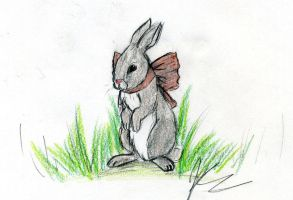 Bunny in bow by Ialeth-of-the-Mist