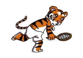 Chibi Tiger Playing Tennis by SavannaW