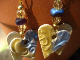 Blue and gold heart earrings by TopazTurtle