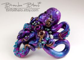 Purple Iridescent Octopus - stick style barrette by TinfoilHalo