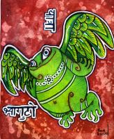 Flying frog by snail-lady