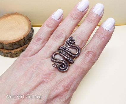 Copper Wire wrapped ring, spirals coils / oxidized by artSistaFotini