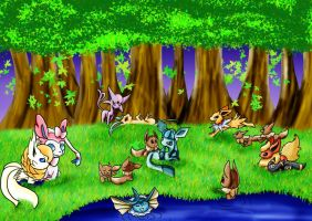 The Eevee Evolutions Picnic by VioletHybrid