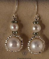 Pearls in silver earrings E877 by Fleur-de-Irk