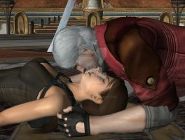 Dante X Lara Croft 86 by candycanecroft