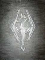 Skyrim Logo Painting by 9warbane