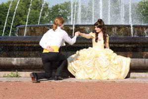 Beauty and the Beast (Disney) - Belle meets Adam by Blue-colibri