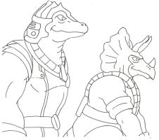 Allo and Tricero Looking at Monitor by Stonegate