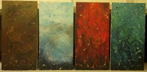 all 4 paintings in the Elements series. by AtonementStudios