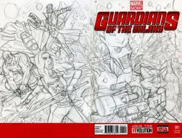 Guardians of the Galaxy Sketch Cover Pencils by ibroussardart