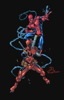 Dead Pool and Spiderman commission colors by JoeyVazquez