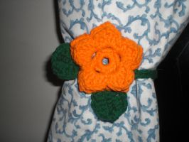 Orange Flower Curtain tie-back by RainKitty18