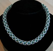 Silver and Green Captive Inverted Round Necklace by Ichi-Black