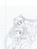 Usagi and Chibi-Usa Midnight Drawing for my binder by Fario-P