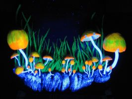 Blacklight mushrooms detail by 666Alex