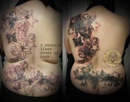 Flower girly skull cover up by 2Face-Tattoo