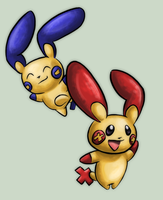 Plusle and Minun 2 by sushiekat