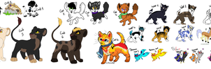 Mix Leftover Adoptables-Open by TinyWolfy