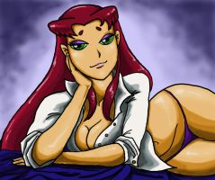 Starfire in a Button Down Shirt by ChocolateOverlander