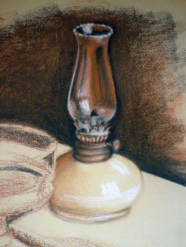 Oil Lamp Study by Grwobert