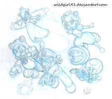 Super Mario 3D Wold sketch by WildGirl91