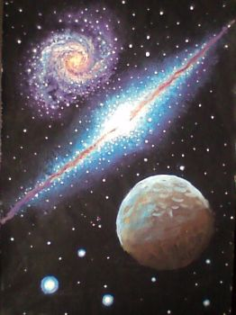 Galaxies and planet by CORinAZONe