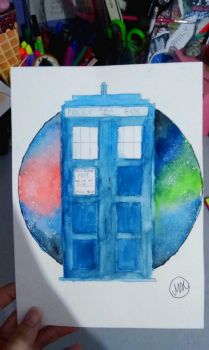TARDIS watercolor by hidingmymess