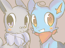 Kuru shinx and Eevee Ruma by TheQuietDummy