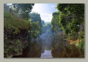 Stream In A Wooded Landscape by neanderdigital