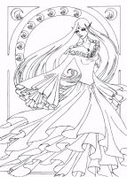 Naro Art Nouveau Line Art by Anarielhime