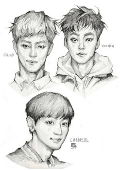 Suho, Xiumin, Chanyeol by Cristal03