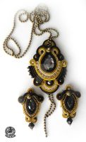 Soutache  set in Gold and Black by caricatalia