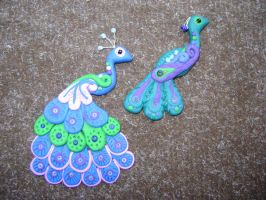 polymer clay peacocks by peach-flavoured