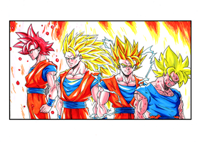 Son Goku Super Saiyan Forms - DBZ by Elyas11