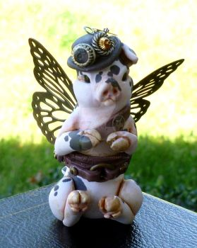 Steampunk Butterflying Pig by MysticReflections